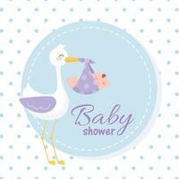 babydouche, ooievaar met een kleine jongen, welkom pasgeboren feestkaart vector