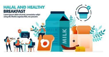 vector illustratie van mensen halal eten voor het ontbijt aan tafel. halal productsymbool op eten en drinken. brood, zuivelproducten en vleesproducten als ontbijt. voor bestemmingspagina, web, poster