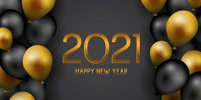 gelukkig nieuwjaar banner met gouden en zwarte ballonnen vector