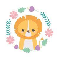 schattige leeuw krans met bloemen tekenfilm dieren vector