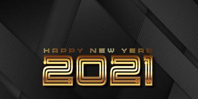 modern goud en zwart bannerontwerp voor het nieuwe jaar vector