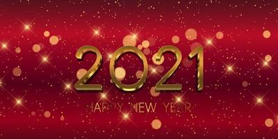 rode en gouden gelukkige nieuwe jaarbanner vector