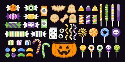 set van kleurrijke halloween snoepjes vector