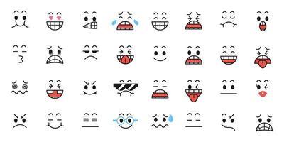 set van grappige cartoon met gezichtsuitdrukkingen vector