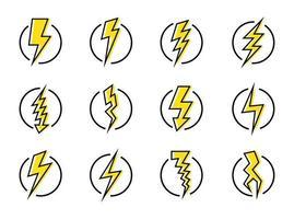 bliksemschicht en energie icon set vector