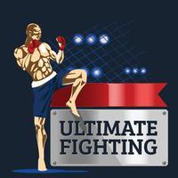 Krachtige agressieve bokser toont zijn spieren op Ultimate Fighting vector