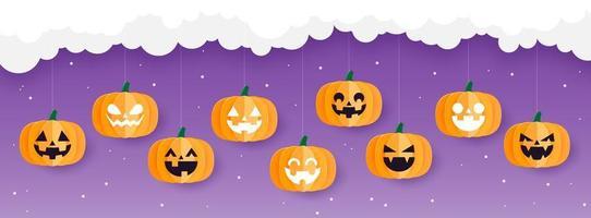 gelukkige halloween-banner met pompoenen, papieren kunststijl