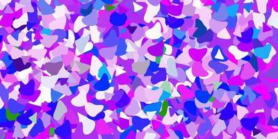 lichtroze, blauwe vectorachtergrond met willekeurige vormen.