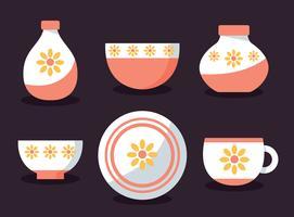 Servies met zon bloem Ornament Vector