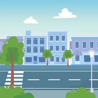 gebouwen bomen gebladerte straat stedelijke stad stadsgezicht vector