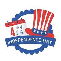 onafhankelijkheidsdag hoed en kalender zegel stempel vector ontwerp