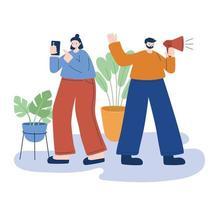 vrouw en man met smartphone en megafoon vectorontwerp