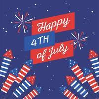 onafhankelijkheidsdag vuurwerk met lint vector ontwerp