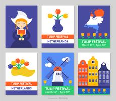 Nederland Tulip Festival Vectorkaarten vector