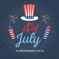 onafhankelijkheidsdag hoed en vuurwerk vector ontwerp