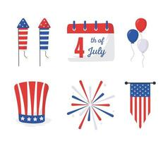 onafhankelijkheidsdag pictogrammen decorontwerp vector