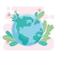 ecologie wereld met bloemen bladeren redden planeet beschermen natuur en ecologie concept vector