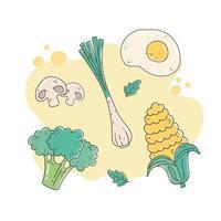 gezonde voeding voeding dieet biologisch gebakken ei ui broccoli maïs champignons