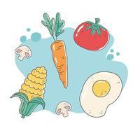 gezonde voeding voeding dieet biologisch gebakken ei tomaat wortel maïs paddestoel