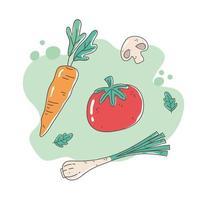 gezonde voeding voeding dieet biologische tomaat wortel ui en champignon vers