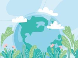 ecologie wereld met bloemen bladeren redden planeet beschermen natuur en ecologie milieu vector