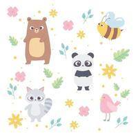 schattige cartoon dieren wilde kleine beer panda wasbeer vogel bij bloemen achtergrond vector