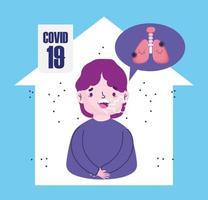 Covid 19 coronavirus pandemie, karakter in huis met hoest longontsteking