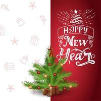 gelukkig nieuwjaar, rode en witte ansichtkaart met prachtige letters en cartoon kerstboom