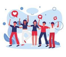 vrouwen en mannen avatars met harten bubbels vector design