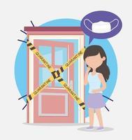 Covid 19 coronavirus pandemie, bezorgd vrouwenmasker in quarantaine thuis