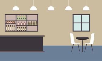 restauranttafel en bar met vectorontwerp van flessenplank