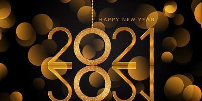 elegante glittery gouden gelukkig nieuwjaar achtergrond vector