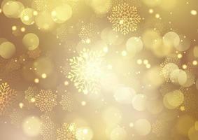 Kerstmis gouden achtergrond met sneeuwvlokken en bokeh lichtenontwerp