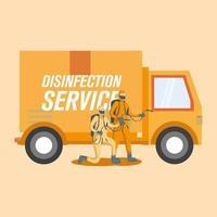 mannen met beschermend pak spuiten en vrachtwagen vector ontwerp