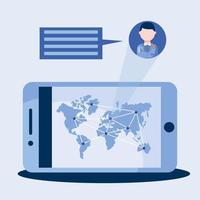 online mannelijke arts met smartphonebel en wereldkaart vectorontwerp vector