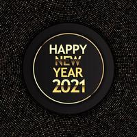 goud en zwart gelukkig nieuwjaarsontwerp vector