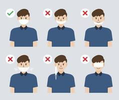 illustratie van de verkeerde en correcte manier om een gezichtsmasker te dragen om de verspreiding van het coronavirus te voorkomen vector