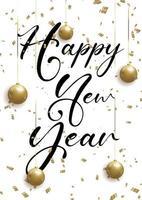 gelukkig nieuwjaar achtergrond met kerstballen en confetti vector