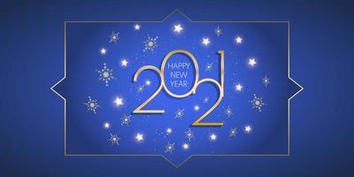 decoratieve nieuwe jaarbanner met gouden sterren en sneeuwvlokkenontwerp vector