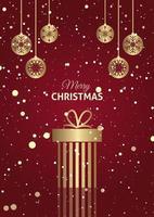 Kerst cadeau achtergrond met hangende kerstballen vector