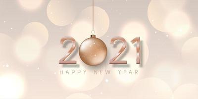 rose goud gelukkig nieuwjaar bannerontwerp vector