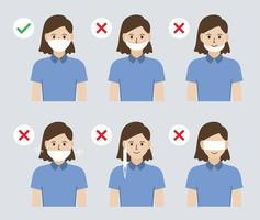 illustratie van de verkeerde en correcte manier om een gezichtsmasker te dragen om de verspreiding van het coronavirus te voorkomen