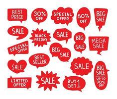 rode tekstballonnen, verkoop label set vector