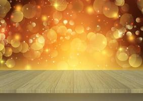 houten tafel met uitzicht op een kerst bokeh licht achtergrond vector
