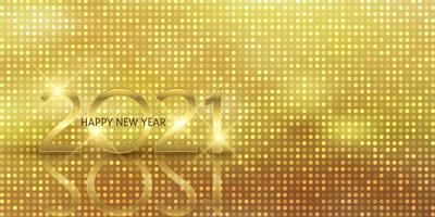 glittery gouden gelukkig nieuwjaar bannerontwerp vector