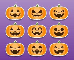 set cartoon halloween pompoenen stickers
