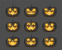 set cartoon halloween pompoenen