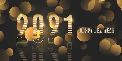 gelukkig nieuwjaar banner met metallic goud ontwerp vector