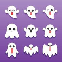 schattige halloween ghost stripfiguur collectie vector