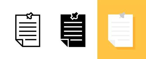 eenvoudig document met punaise icon set vector